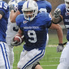Tribune-Star/Rachel Keyes<br /> In Traffic: Indiana State's Brock Lough runs the ball through traffic in a scrimmage on Saturday.