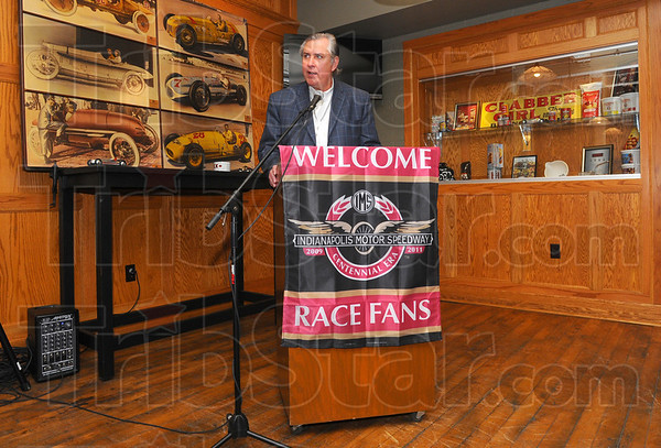Tribune-Star/Jim Avelis<br /> Home grown: Jeff Belskus, Indianapolis Motor Speedway President and CEO spoke at the kickoff breakfast for the 100th anniversaary of the Indy 500.