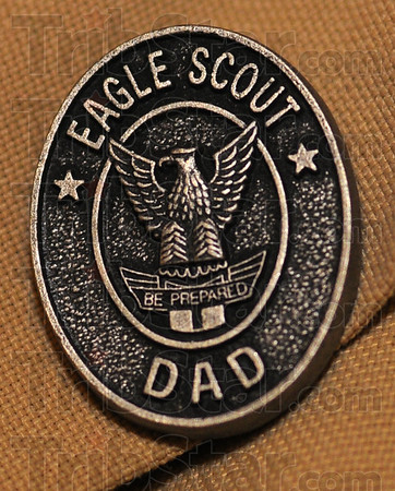 Tribune-Star/Jim Avelis<br /> Recognition: Dan Snider wears the Eagle Scout Dad pin given to him by his Little Brother and new Eagle Scout David English.