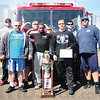 Tribune-Star/Rachel Keyes<br /> Big winners: The Union Hospital Center for Fitness and Performance team won were the overall winners of the Pi Kappa Alpha Fire Truck Pull with a time of 17.72 seconds.