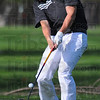 Tribune-Star/Jim Avelis<br /> Teed off: Brave golfer Sam Harbaugh hits from the third tee at Forest Park during their matchup with Northview Wednesday.