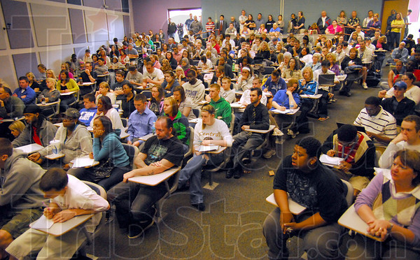 Standing room only: ISU students pack Holmstedt Hall on campus to listen to former death row inmate Randy Steidl Wednesday afternoon.