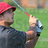 Tribune-Star/Jim Avelis<br /> FOR PREP PROFILE<br /> Leader: Terre Haute golfer Thomas Goss watches his drive Wednesday in the Braves diual match with Northview.