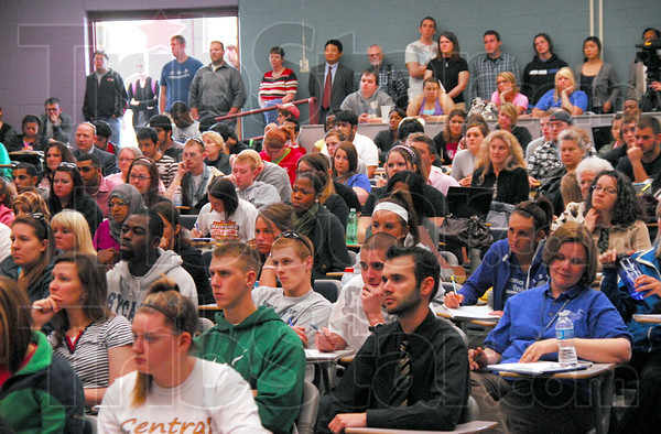 Packed house: Indiana State University students pack Holmstedt Hall Wednesday afternoon listening to former death row inmate Randy Steidl.