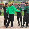 Tribune-Star/Jim Avelis<br /> Let's talk: Wst Vigo head softball coach Cherish Easton talks with her infield during a break in first inning action Wednesday evening at Terre Haute South.
