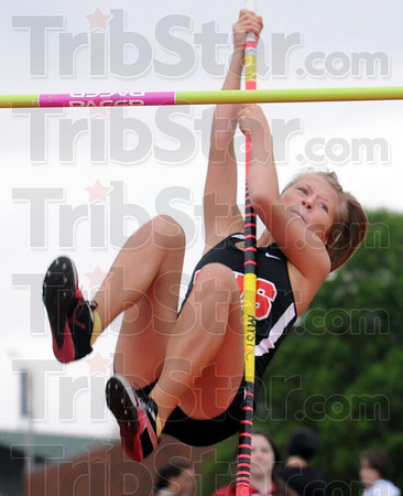 Vaulter: Terre Haute South junior Stacy Caldwell clears seven feet during Wednesday's track meet.