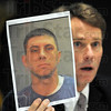 Wanted: United States Attorney Joseph H. Hogsett holds a photograph of Chad Noble during a news conference announcing federal indictments against thirteen people. Noble at the time of the news conference was still at large.