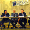 League: George Azar, Jim Chalos, Don Morris, Curt DeBaun and Sean Feeney participate in Wednesday's League of Women Voters forum.