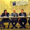 League: George Azar, Jim Chalos, Don Morris, Curt DeBaun and Sean Feeney participate in Wednesday's League of Women Voters forum.