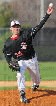 Tribune-Star/Jim Avelis<br /> Starter: Brent Mulvihill was the starting pitcher for the Terre Haute South Braves Wednesday evening.