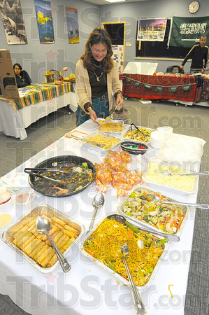 Tribune-Star/Jim Avelis<br /> Movable feast: Foods from several countries were available at the Union Hospital Diversity Fair Wednesday afternoon.