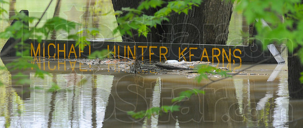 Tribune-Star/Jim Avelis<br /> No access: The Tecumseh boat ramp named for judge Michael Kearns is completely underwater Monday afternoon.