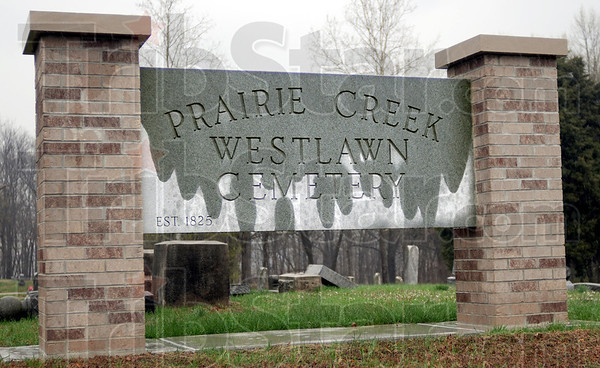 Vandalism: Several tombstones in the Prairie Creek Westlawn Cemetery were damged by vandals recently.