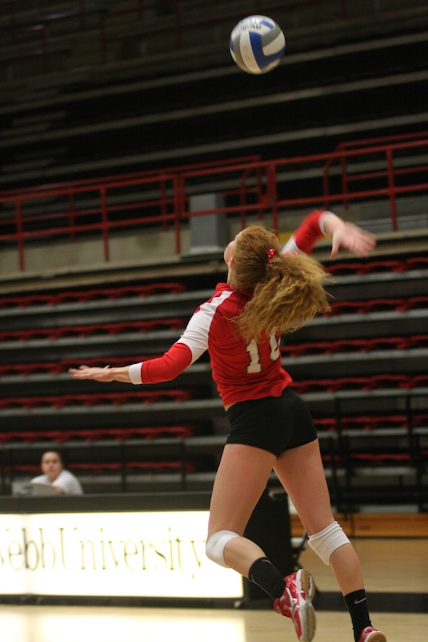 Molly Rhyne with the serve.