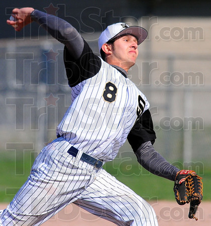 Tribune-Star/Jim Avelis<br /> Over the top: South Vermillion pitcher Dylan Reyher got the start against the visiting Braves Tuesday evening.