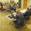 Tribune-Star/Jim Avelis<br /> Less than full: Several seats went empty at the Tuesday night mayoral debate sponsored by the League of Women Voters and the Tribune-Star.