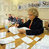 Tribune-Star/Jim Avelis<br /> Next question: Moderator Betty Martin reads a question for the three Terre Haute mayoral candidates. Mick Love, Fred Nation and Clarence Soughers II are seeking the Democrat party nomination to run against incumbent mayor Duke Bennett this fall.