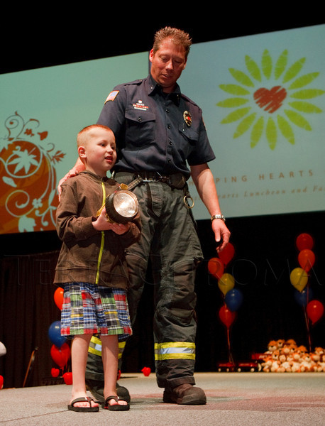 (Denver, Colorado, April 8, 2011)<br /> Lance Jors, escorted by Scott xxxx.  The 2011 Little Hearts Luncheon and Fashion Show, benefiting The Children's Hospital Heart Institute, at the Infinity Park Event Center in Denver, Colorado, on Friday, April 8, 2011.<br /> STEVE PETERSON