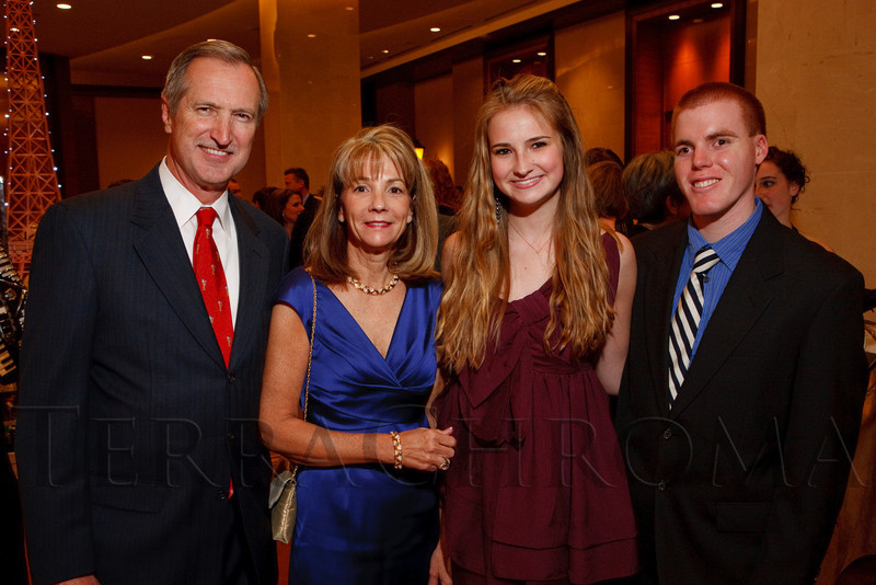 """(Denver, Colorado, April 16, 2011)<br /> Peter, Brenda, and Jackie (daughter) Plowshay with David Jensen.  Jackie and David are EFCO Youth Council members.  """"la vie en Rose,"""" a benefit for the Epilepsy Foundation of Colorado and the Jason Fleishman Summer Camp, at the Four Seasons Hotel Denver in Denver, Colorado, on Saturday, April 16, 2011.<br /> STEVE PETERSON"""