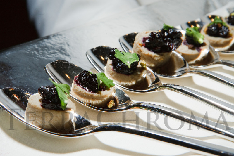 "(Denver, Colorado, April 16, 2011)<br /> Foie Gras Pate Tarte, with toasted pistachios and huckleberry sauce.  ""la vie en Rose,"" a benefit for the Epilepsy Foundation of Colorado and the Jason Fleishman Summer Camp, at the Four Seasons Hotel Denver in Denver, Colorado, on Saturday, April 16, 2011.<br /> STEVE PETERSON"