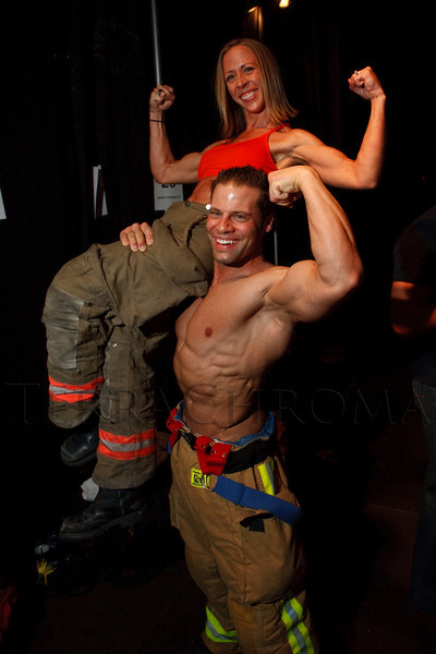 (Denver, Colorado, April 22, 2011)<br /> Nicole Bundy and Derek Trombetta.  The 7th Annual Colorado Firefighter Celebrity Judging Event at Exdo Event Center in Denver, Colorado, on Friday, April 22, 2011.<br /> STEVE PETERSON