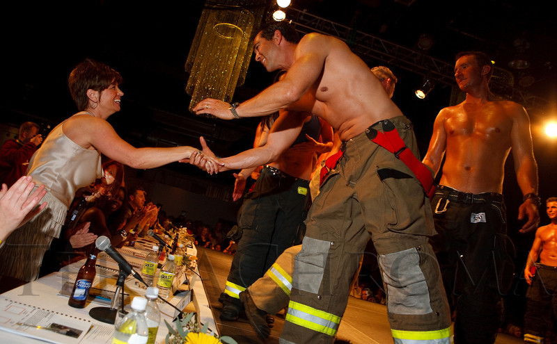 (Denver, Colorado, April 22, 2011)<br /> xxxx won the auction to be a calendar judge, thanked for her winning bid by the 2011 calendar alumni.  The 7th Annual Colorado Firefighter Celebrity Judging Event at Exdo Event Center in Denver, Colorado, on Friday, April 22, 2011.<br /> STEVE PETERSON