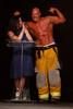 (Denver, Colorado, April 22, 2011)<br /> Emcee Jennifer Wilde with Tim Dragosh.  The 7th Annual Colorado Firefighter Celebrity Judging Event at Exdo Event Center in Denver, Colorado, on Friday, April 22, 2011.<br /> STEVE PETERSON