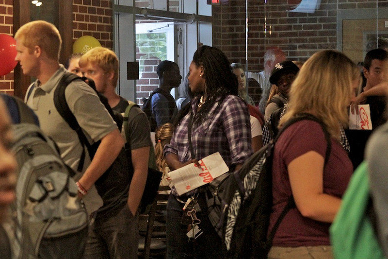 Students lined up through the door and around the Dover Campus Center to celebrate Chick-fil-a's one year anniversary on Garnder-Webb's Campus.