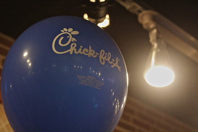 Chick-fil-a celebrates its one year anniversary at Gardner-Webb University by decorating with plenty of ballons sporting their logo.