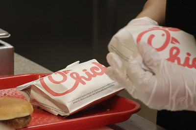 Chick-fil-a's staff worked very quickly to assemble sandwiches for the multitude of students who showed up to celebrate their anniversary at Gardner-Webb University.