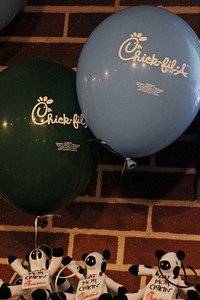 Chick-fil-a celebrates its one year anniversary at Gardner-Webb University by decorating with plenty of ballons sporting their logo and their signature cows.