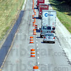 Tribune-Star/Jim Avelis<br /> Lane change: Warning signs and barrels have been placed along I-70 in Clay County where rehabilitation of the road is about to start.
