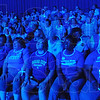 Tribune-Star/Rachel Keyes<br /> Bleeds blue: Incoming freshmen at Indiana State watch the introduction to welcome week Sunday.