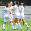 Tribune-Star/Rachel Keyes<br /> Quick celebration: Indiana State celebrates an early goal against IUPUI Sunday at Hulman Field.
