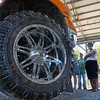 Big wheel: A diesel truck on display during the scheid event at the Vigo County Fairgrounds Friday afternoon.