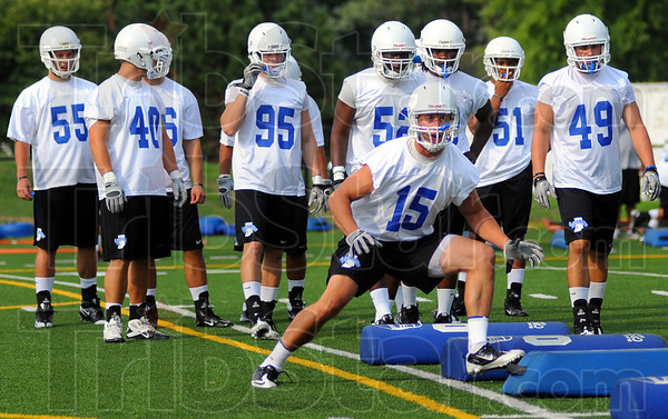 Tribune-Star/Jim Avelis<br /> Last year: Indiana State Senior Ryan Roberts(15) runs through agility drills Friday afternoon.