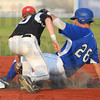 Tribune-Star/Jim Avelis<br /> Safe: Nick Johnson gets to second base ahead of the tag by Springfiled's  Dan Douglas.