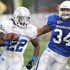 Tribune-Star/Rachel Keyes<br /> Rush for yards: Indiana State's Shakir Bell rushes for yard in a scrimmage Saturday.