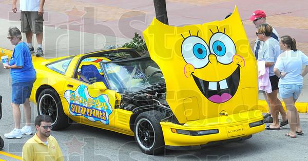 Sponge Bob: Detail photo of Corvette painted with Sponge Bob Squarepants logo.
