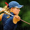 Tribune-Star/Jim Avelis<br /> Concentration: Rachel Welker watches a tee shot during action in the Patriot Invitational Saturday at Hulman Links.