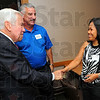 Tribune-Star/Jim Avelis<br /> Welcome: Senator Richard Lugar chats with Lost Creek township trustee Richard long and his wife Susan Long. Lugar aas in town to give a short talk on recent developments in the budget battle in Wshington D.C. and meet with supporters.