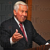 Tribune-Star/Jim Avelis<br /> Explanations: Senator Richard Lugar talks to a small group of supporters about the recent political wrangling in Washington D.C over the budget.