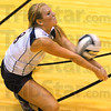 Tribune-Star/Jim Avelis<br /> Free play: Terre Haute North's Niki Sneddon, plaing the libero position, bumps a serve.