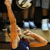 Tribune-Star/Jim Avelis<br /> Hit: Terre Haute North's Maddy Howes tries for a kill against the host Northview Knights Thursday evening.