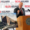 President: Rose-Hulman president Matt Branam talks about the constsruction of a new dormatory on campus Wednesday morning. Artist rendering of the project is at left.