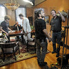 Lights: Governor Ventura prepares for his scene during Monday's production at The Ohio builidng in Terre Haute.