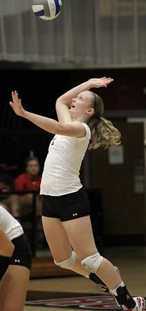 Heather Feldman, 1, hits the ball.