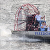 Tribune-Star/Jim Avelis<br /> Flying low: Joe Hoopingarner pilots his airboat Freedom up the Wabash River past Fairbanks Park during the National Night Out. He provided free rides as part of the event.