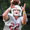 Catch: Rose-Hulman's #22, Kyle Kovacs hauls in a pass during Tuesday's practice.