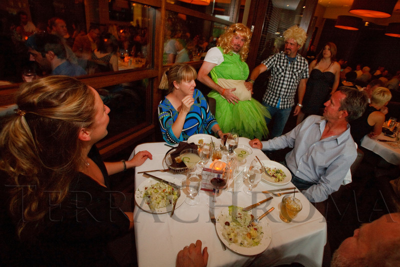 (Denver, Colorado, Aug. 27, 2011)<br /> Matt Dyer shows off his new paunch.  Celebrity Waiter event, a Concerts for Kids benefit, at Shanahan's Steak House in Denver, Colorado, on Saturday, Aug. 27, 2011.<br /> STEVE PETERSON